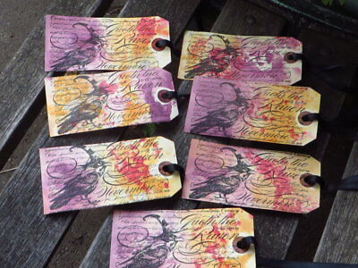 Raven Halloween Tags, Set of 7, Hand Coloured Orange Purple Red, Nevermore, Poe