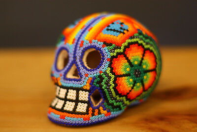 HUICHOL BEADED SKULL - Day of the Dead - Mexican Folk Art - One Of A Kind