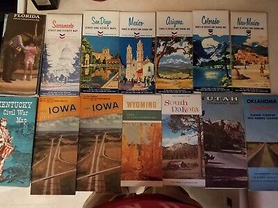 Vintage State highway road maps from the early 60's lot of '14'