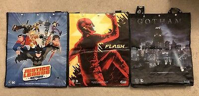 Lot of 3 SDCC Comic Con Swag Bags Justice League Flash Gotham Tote Superman Pin