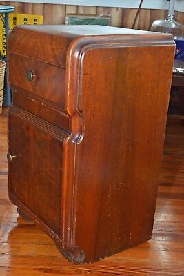 ANTIQUE: Vintage 1939s Art Deco Mahogany Waterfall Nightstand