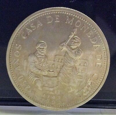 CHILE 2000 PESOS 1993 SILVER, 250th Anniversary of the Mint