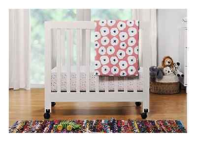 Baby Mini Crib Portable Boy Girl Modern Small Mobile Bed Nursery Furniture White