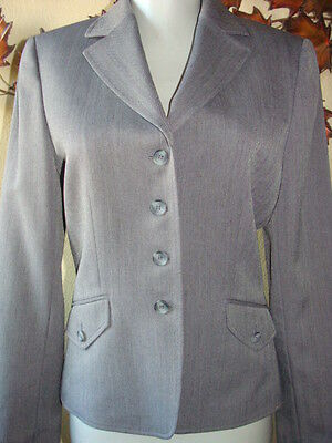 Tahari Arthur S Levine Blazer Gray Black Chevron Pattern Long Sleeve Jacket 4
