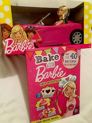 Barbie Convertible and Doll Pack+Bake With BARBIE 2018 Edition Book Bundle.