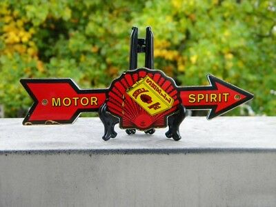 """SHELL MOTOR OIL ARROW OLD PORCELAIN SIGN ~7-3/4""""x 2-1/8"""" PUMP GAS LUBE STATION"""