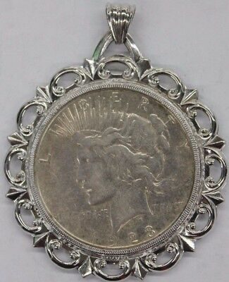 1923-D Silver Peace Dollar inside Sterling Silver Pendant mount