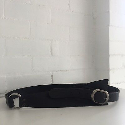 UNIQUE Vintage BLACK Genuine LEATHER BELT Large RUSTIC Worn Appeal Silver Buckle