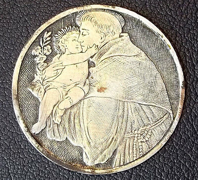 Europe Nice Antique Etching Saint Anthony Of Padua With Baby Jesus Lovely Plaque
