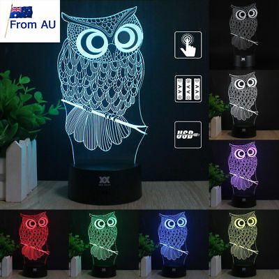 Harry Potter Owl 3D LED Night Light 7 Color Touch Table Desk Art Lamp Xmas Gifts