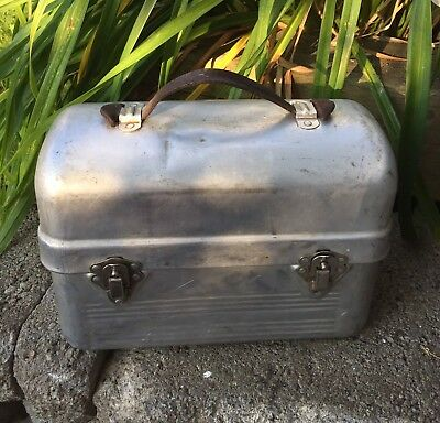 Vintage Lunch Box Old Aluminium School Worker Lunch Box