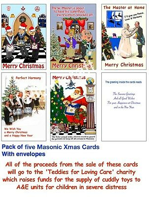 Pack of five Masonic Xmas Cards all with with a touch of Humour