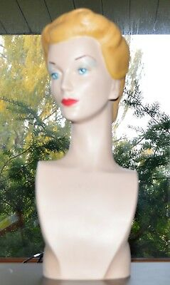 Mannequin Bust Jewelry Display Fashion Head Hat Millinery 1940's Vintage Style