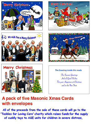Pack of five Masonic Xmas Cards all with with a hint of fun