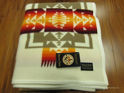 Pendleton Chief Joseph Collection Blanket Ivory 64x80 Made in USA!!