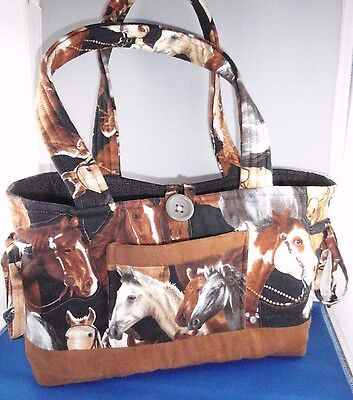 Handcrafted Fabric Horses Multi Use Bag Office Bingo Crafts Sew Knit Caddy