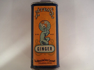 Great Vintage Atlas Ginger Paper Label Spice Tin Woolson Spice Co Toledo Ohio