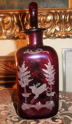 Antique Egermann Bohemian Glass Ruby Red Etched Glass Wine Decanter Flacon! Cir