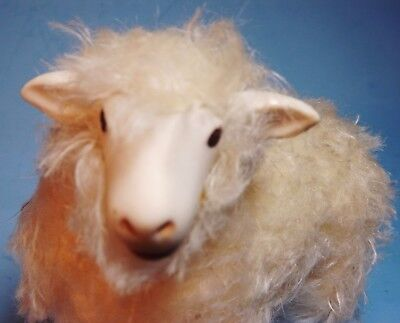 """Large 5 1/2 """" Antique Wooly Sheep / Rare Bisque & Wool Christmas Putz Figurlne"""