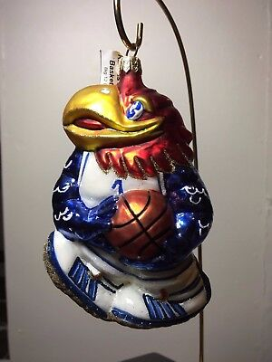 Slavic Treasures J Hawk Basketball Hand Blown, Painted Glass Christmas Ornament