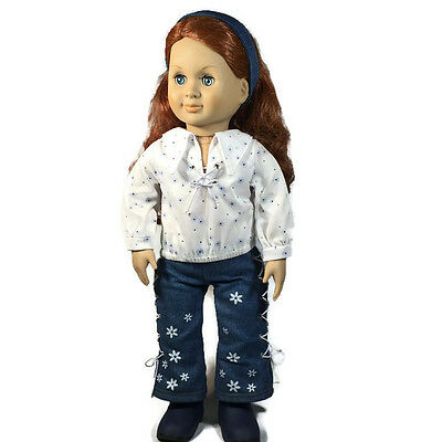 Our Generation Battat 1998 18 inch Hippie Blue Jeans with Flowers Doll