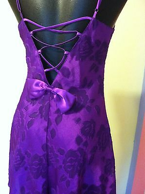 VNTG Victoria's Secret purple chiffon roses chemise w/ back bow EXC gold tag Sm.
