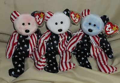 Ty Lot of 3 Spangle Beanie Baby Bears Pink Blue White, 5th Gen Hang Tags MWMT