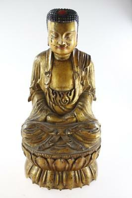Antique Chinese Hand Carved Wooden Figure Of Sitting Buddha