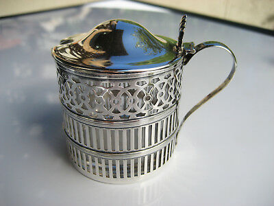 Antique WEBSTER CO. Sterling Silver & Glass Pierced Cut Lidded Mustard Pot Jar