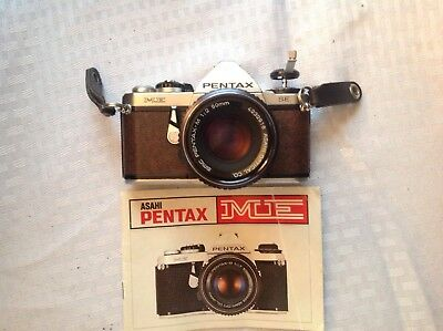 Vintage SLR Asahi Pentax ME SE 35mm camera, untested w/ manual and 50mm 1:2 Lens