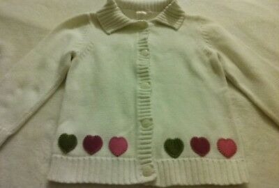New Gymboree girl size 5t button down sweater with hearts