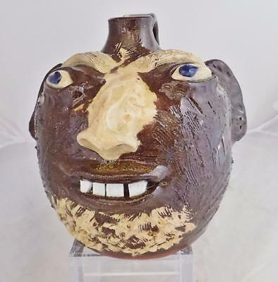 Catawba Valley Pottery Face Jug by Dale Costner Vale N.C. SIGNED Eyebrows Beard