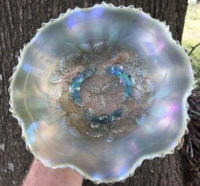 Northwood Antique Carnival Glass Fruits And Flowers Aqua Opal Opalesence Bowl