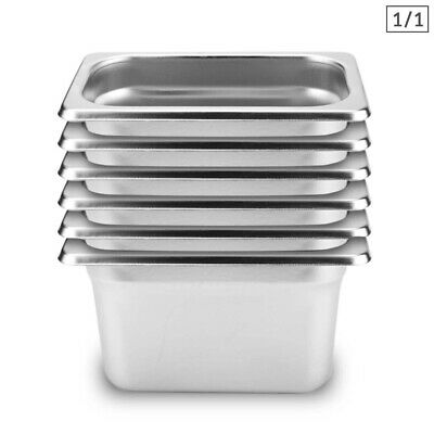 SOGA 6 x Full Size 1/1 GN Pan 200MM Deep Stainless Steel Gastronorm GN Pan Tray