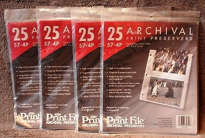 Lot 4 Packages Print File Archival Preservers 5 x 7 Photo Album 100 Pages 57-4P