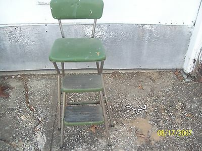 Vintage  Green COSCO Step Stool Chair w/ Pull Out Steps