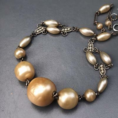 Vtg Art Deco French Louis Rousselet Pearl Glass Silver Tone Filigree Necklace