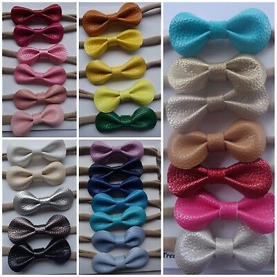 x4 Headband Faux Leather Bow Baby Newborn Toddler Girl Nylon Hair Accessories