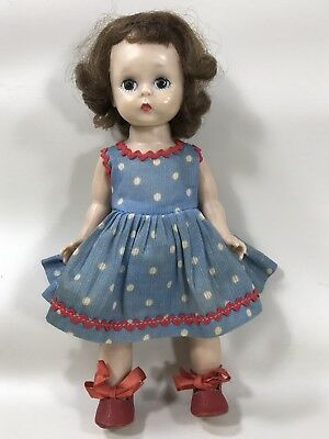 1950s Madame Alexander Alexander-Kins Doll w  Blue Polka Dot Dress w Red Trim