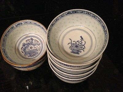 7 Chinese bowls - Blue and White - Rice Grain Translucent Pattern