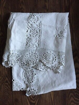 Antique handmade white bobbin lace linen tablecloth Edwardian 1900s hand made