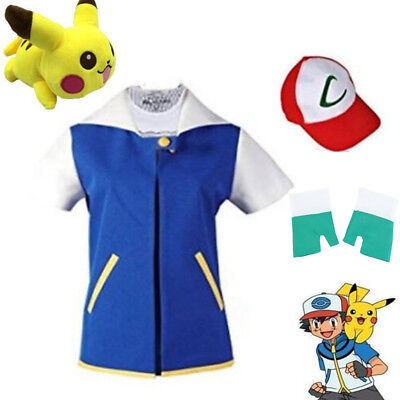 Pokemon Ash Ketchum Trainer Costume Halloween Cosplay Shirt Jacket+Gloves+Hat