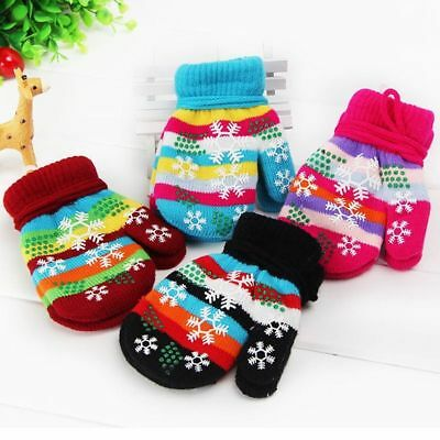 Warm Touch Outdoor Mitten Full Finger Kids Knitted Gloves Christmas Gifts