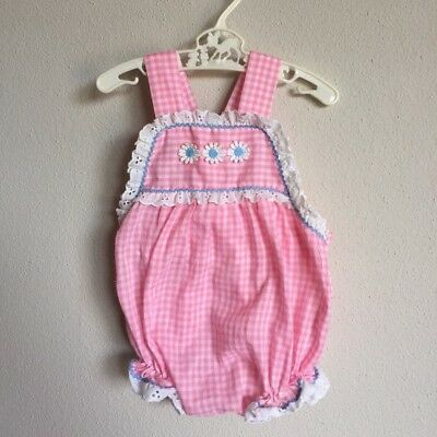 Vintage Baby Daisy Romper 60s 70s Infant Pink Gingham Eyelet Ruffle Sun Suit 6 M