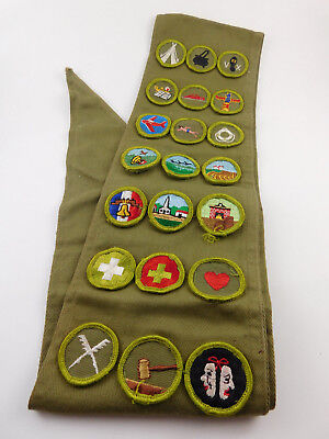 Vintage Boy Scout BSA Merit Badge Collection With Sash Lot of 21