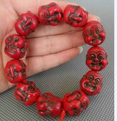 Chinese Handwork Red Coral Carve Smile Buddha Buddhism Bless Bracelet N
