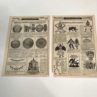 Old Vintage Halloween Paper N. Shure Novelty Catalog Decorations Costumes 1920's