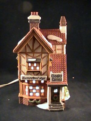 Dept 56 Bumpstead Nye Cloaks/Canes Dickens Village Christmas Porcelain Lighted H