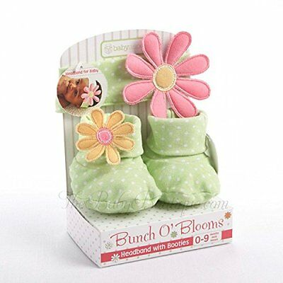 NWT BABY ASPEN Bunch of Blooms Headband with Booties Gift Set 0-9 months
