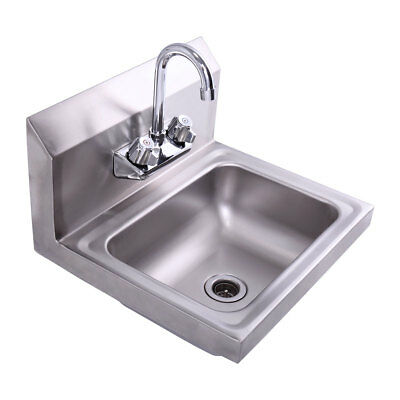 "In Wall Mount Hand Sink With Faucet 17"" x 15"" Stainless Steel Silver"